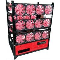 18 GPU Open Air Frame Mining Miner Rig Case + 24 Fans