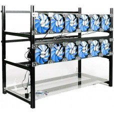 RXFSP 14 GPU Aluminum Open Air Miner Frame Mining Rig Case With Fans