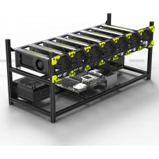 Veddha V3C 8-GPU Mining Case Aluminum Stackable Mining Rig Open Air Frame Case with Fans
